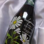 [お礼]お花ラベルのシャンパンとグラスのセット