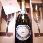 ご結婚お祝いにハートラベルのシャンパーニュとグラスセットを贈りませんか??