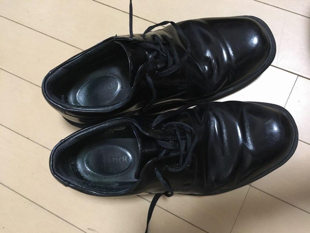 履きつぶしたハイドロテック・ブルークコレクション・プレーントゥー(上から)