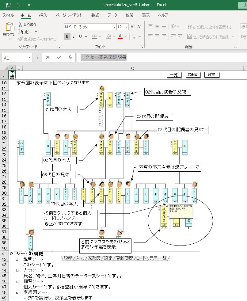 エクセル家系図